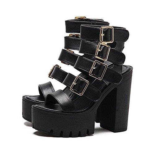 GLTER Donne Scarpe peep toe pompe tacco alto sandali con plateau Scarpe marrone nero Black