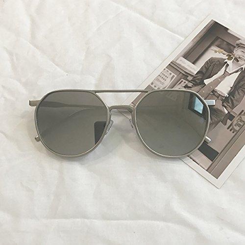 Burenqi@ Retro Metallrahmen Farbe mode Sonnenbrille Pilotenbrille, grau Spiegel objektiv OH