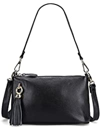 Sealinf Womens Genuine Leather Handbag Tassels Shoulder Bag Top Zip Crossbody (Black)