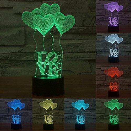 Spécial Amour en forme de coeur USB chargeant la vision en couleurs 7 couleurs vision stéréo Lumière 3D contrôle tactile LED lampe de table lampe de nuit, DC 5V, acrylique Accueil