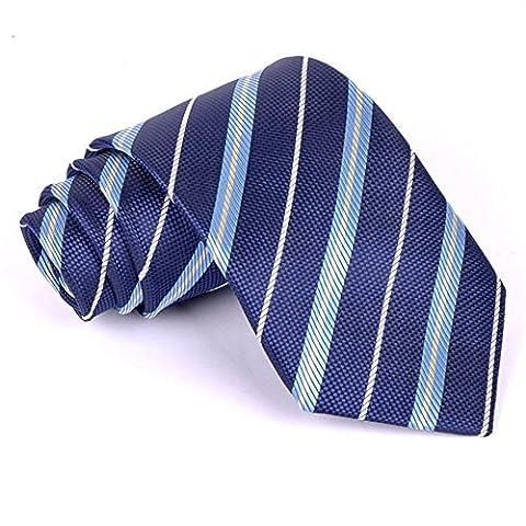 Z-P Mens New Fashion Luxury Dark Blue Stripes Necktie Polyester Silk Business Wedding Ties