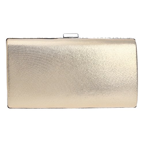 BigForest Luxus Perle Damen Clutch Damentasche Abendtasche Prom & Party Hochzeit Handtasche mit Strass Black Golden