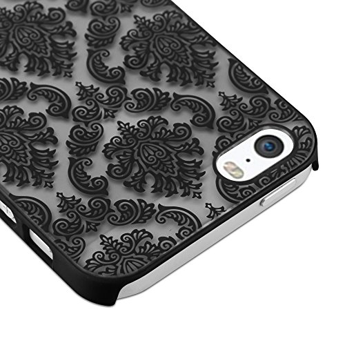 Cadorabo - Design Mandala Hard Cover Slim Case pour Apple iPhone 5 / 5S / 5G - Etui Coque Bumper Henna Paisley en VIOLETS-TRANSPARENT NOIR-TRANSPARENT