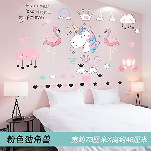 Room Decoration Bedroom Warm Wallpaper Self-Stick Pink Bedside Layout Stickers Ins Wall Stickers Creative Wallpaper Pink Unicorn -