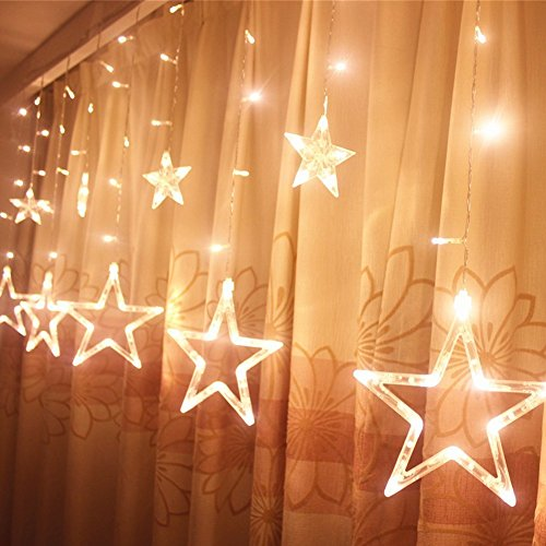 LED Sternenvorhang mit 138 LED-Lichter AC 220V Weihnachtlicher Lichtervorhang Lichterkette Stern Weihnachtsdekoration Dekoleuchte Dekolicht (Warm weiss)