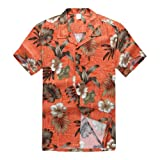 Männer Hawaiisches Hemd Aloha Hemd Orange Palme und Blumen