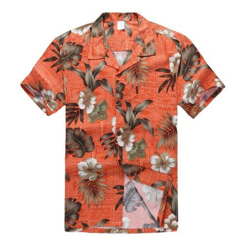 Hombres-Aloha-camisa-hawaiana-en-Naranja-Hibisco-2XL