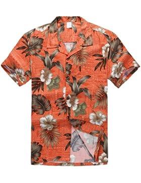 Hombres Aloha camisa hawaiana en Naranja Hibisco
