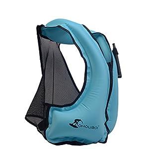 51cVSCNyvtL. SS300  - OMOUBOI Snorkel Vest Unisex Snorkeling Swimming Float Vest Inflatable Kayak Canoeing Safty Jacket for Adult Women Men