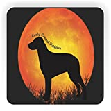 Rikki Knight Curly Coated Retriever Dog Silhouette By Moon Design Square Fridge Magnet