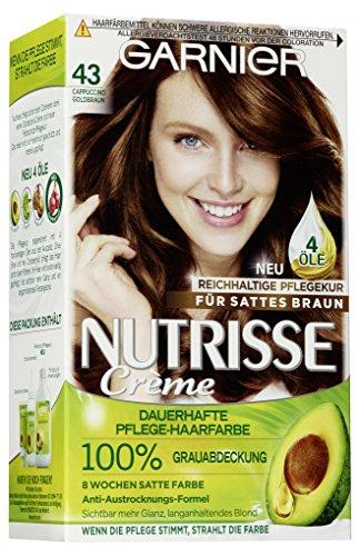 Garnier Nutrisse Creme Coloration Gold-Braun 43, Färbung, 3er Pack
