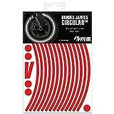 VFLUO Circular™, Kit Bandes Jantes Moto rétro réfléchissantes (1 Roue), 3M Technology™, Liseret Largeur XL : 10 mm, Rouge