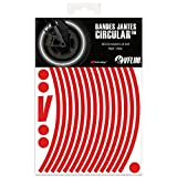 VFLUO CIRCULAR™ Kit strisce adesivi rifrangenti/riflettenti per cerchioni Moto (1 ruota), 3M Technology&trade, Larghezza : 7 mm, Rosso
