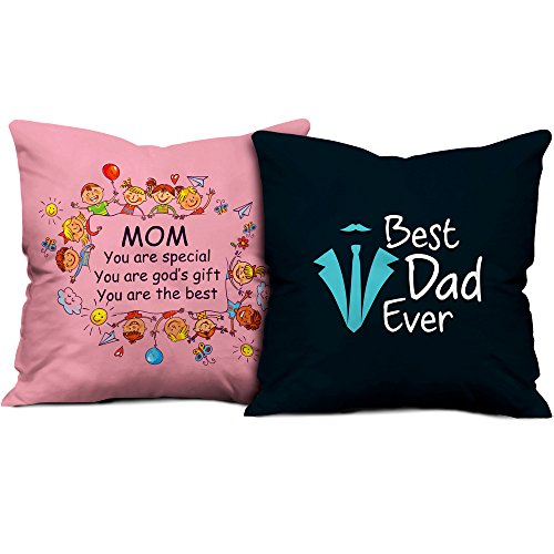 Gift for Father Mother Dad Mom Birthday Anniversary Mom Special God's Gift & Best Dad Ever Light Pink & Dark Blue Printed 12X12 Small Cushion with Filler set of 2 Everyday Home Decor Gifting  available at amazon for Rs.545