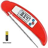 Lebensmittel Digital Thermometer für Küche Kochen im Freien, handliche Instant Readout Thermometer mit Sonde für Süßigkeiten, Fleisch, Grill, Geflügel, Grill, faltbar, Fast & Auto On/Off [Batterie im Lieferumfang]