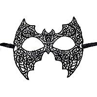 Hosaire 1x Máscara de Encaje Estilo Batman,Mujeres Antifaz para Mascarada Veneciano Carnaval Halloween Fiesta