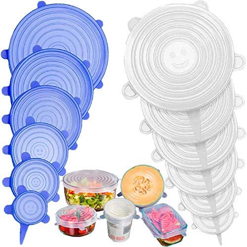 Stone TH Tapas de Silicona Elásticas, 12 Tapas Silicona Ajustables Cocina, Reutilizable...