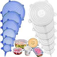 Stone TH Tapas de Silicona Elásticas, 12 Tapas Silicona Ajustables Cocina, Reutilizable Fundas para Alimentos Tapa Tazas, Boles o Tarros, Lavavajillas, Refrigerador