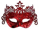 SiDeSo® Maske rot mit Glitzer Venezianische Maske Karneval Party Fasching Silvester verschiedene Farben Deko