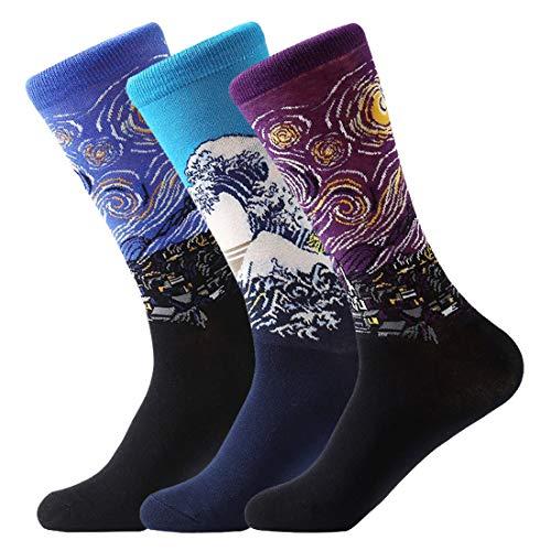 FLYCHEN Herren und Damen socken Van Gogh Socken Weihnachten socken Baumwollsocken 3er-Pack (EU37-45)