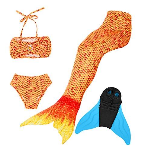 Cosplay Kostüm Badebekleidung Meerjungfrau Shell Badeanzug 3pcs Bikini Sets Tolle Geschenksidee ! (140, Sunset Gold) (Billig Meerjungfrau Kostüme)