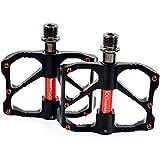 """iParaAiluRy Mountain Bike - Pedales MTB BMX de la aleación de aluminio Pedales Plataforma CNC Eje de acero de 9/16 """"(Negro)"""