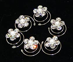Clear Crystals With Pearl Hair Twist (Pack of 6)