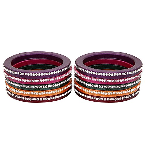 Bangle Set | Made Of Lac | Multicolour | White Stone Work Design | Daily And party Wear | Lac Bangle Set For Women - By The Lakh