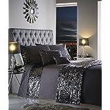 Dazzle - Juego de cama con lentejuelas - Fundas para el edredón y la almohada - gris marengo - Matrimonio (Reino Unido)