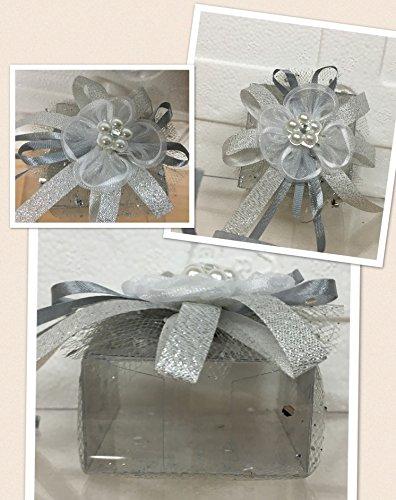 Subito disponibile stock 20 pezzi scatolina portaconfetti in pvc con tulle e fiore argento