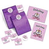 JuNa-Experten 8 Einladungskarten Geburtstag Kinder Mädchen Einhorn Katze / Einladung Kindergeburtstag / Geburtstagseinladung incl. 8 Umschläge, 8 Tüten / lila, 8 Aufkleber