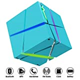 Bluetooth Lautsprecher, Tragbare LED Beleuchtung Lautsprecher Stereo Magic Cube Mini Wireless Lautsprecher mit Mikrofon für Smartphones iPad Tablet MP3 CD Player JUQONE (Blau)