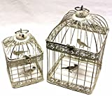 Link Products set of 2 Bird Cage Lanterns Wire wedding displays ( cream white Square )