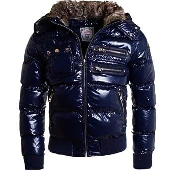 Redbridge Herren Winter Jacke warm gefüttert mit Kapuze R-5302 Glanz Optik, Grösse:M;Farbe:Blau
