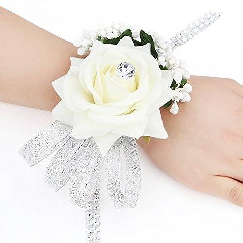 Lot de 2 bracelets élastiques avec fleurs et strass pour mariage/soirée