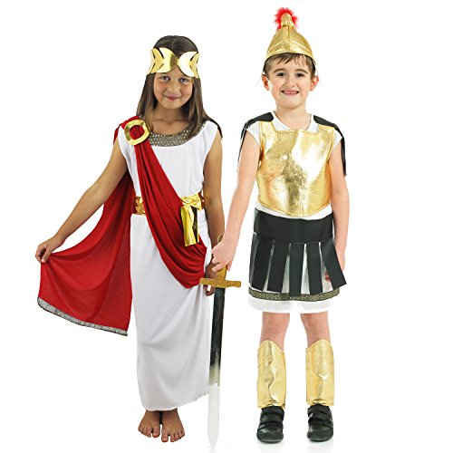 Paare Mädchen Kostüm - ILOVEFANCYDRESS RÖMISCHES WACHEN Kinder Paare KOSTÜM =MÄDCHEN -Tunika + Jungen -RÖMER Uniform = Fasching + Karneval +SCHULAUFFÜHRUNGEN = Junge-Large + MÄDCHEN-Small