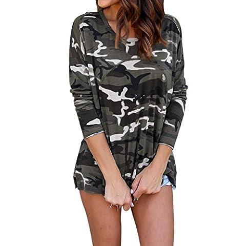 Manadlian emmes Occasionnelles Camouflage Automne Manches Longues Blouse Top (L, Camouflage)