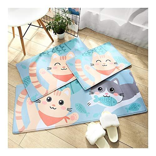 Unbekannt rutschfeste Cartoon-Fußmatten aus Flanell für Zuhause, Badezimmer, Tür, saugfähig, für Zuhause, blau, 50x80cm