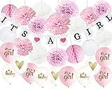 HappyField IT'S A Girl Papier Girlande Banner Dekoration Baby Shower Dekor für Mädchenr ,Banner, Ballons,Honecom Balls für Mädchen Dekor