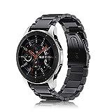 FINTIE Bracelet pour Samsung Galaxy Watch 46mm, Gear S3 Frontier/Huawei Watch 2 Classic/Moto 360 2 - Bracelet en Acier Inoxydable Wristband Montre Strap Remplacement avec Métal Fermoir, Noir