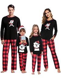 Aibrou Pigiami Famiglia Natale Set, Pigiama Natalizio per Famiglia Manica Lunga+Pantaloni, Pigiama Famiglia Coordinati Natale per papà Mamma Bambini