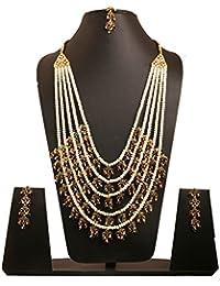Touchstone Indian Bollywood Faux Pearls Ruby Emerald Meenakari Enamel Charming Five Lada Grand Bridal Deisgner...