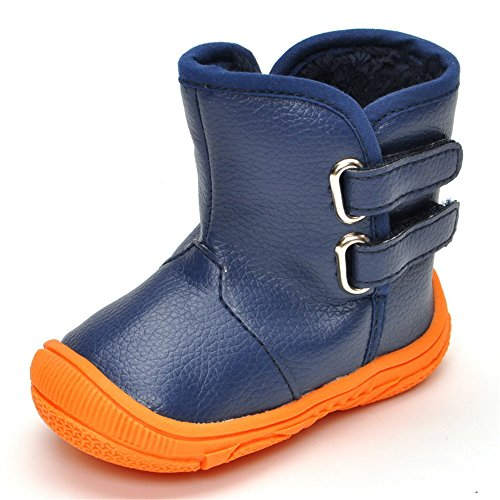 Matt Keely Baby Boys Girls Snow Boots Toddler Winter PU Leather Rubber Sole Warm Shoes