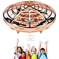 infinitoo Mini UFO Flying Ball Toys, Hand-Controlled Drone With 5 Infrared Sensors 360°Rotating and Flashing LED Lights Kids Flying Toys for Kids, Boys, Girls (Rose Gold)