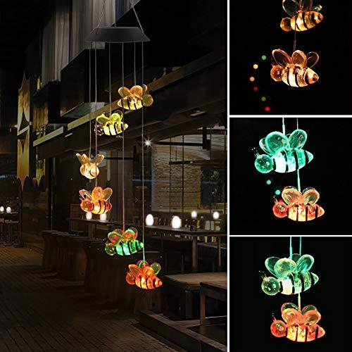 Hoch Hängende Licht (GSYClbf Beruhigender Melodischer Ton, Der Für Gartendekoration-farbänderndes Hängendes Glocken-Solarbetriebene Lampe-Bienen-Windspiel-LED-Licht Im Freien Hängt Bunt)