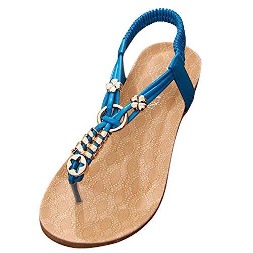 YOUJIA Damen Metalldekoration Flach Sandalen Elastischen Knöchelriemen Flip Schuhe Blau #2