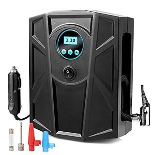 MVPOWER 12V Luftkompressor, Auto Kompressor 150Psi/10bar, Reifen Aufblasgerät mit digitaler Anzeige, Tragbar Reifenpumpe Luftpumpe mit Zigarettenstecker Schwarz