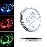 Untersetzer Koyoso Auto Cup Halter Matte LED für Auto Becherhalter, Getränkehalter Dekoration mit Inneren Aufladbare RGB-Atmonphere-LED-Lampe (2 Stück)