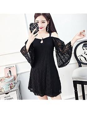 Elegante Femenina Coreana correas sexy espalda hombros desnudos vestidos Falda encaje,S,negro