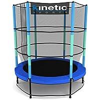 Kinetic Sports Trampolin Kinder Indoortrampolin Jumper 140 cm Randabdeckung Stangen gepolstert, Gummiseil-Federung Sicherheitsnetz Pink oder Blau